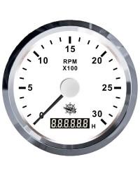 Compte-tours 0-3000 tpm blanc/poli 27.327.01