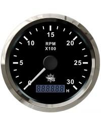 Compte-tours 0-3000 tpm noir/polie 27.326.01