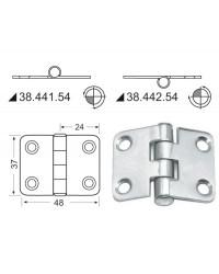 Charnière inox rectangulaire symétrique 48x37mm nœud renversé 38.442.54