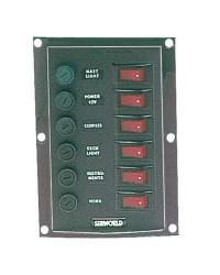 Tableaux en nylon avec 6 interrupteurs à bascule lumineux vertical
