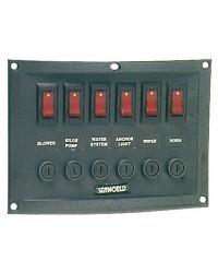 Tableaux en nylon avec 6 interrupteurs à bascule lumineux horizontal