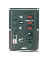 Tableaux en nylon avec 3 interrupteurs à bascule lumineux + voltmètre