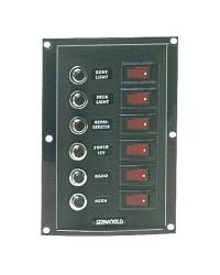 Tableaux en nylon avec 6 interrupteurs à bascule lumineux + 6 fusibles