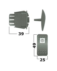 Interrupteur (ON) ressort - OFF - (ON) ressort LED blanches -  24V - 6 terminaux bipolaire