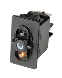 Interrupteur (ON)-OFF-(ON) LED rouge 24V - 6 terminaux - bipolaire