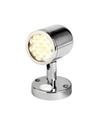 Spot orientable à LED en inox poli avec interrupteur - 12/24V