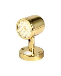 Spot orientable à LED en laiton poli avec interrupteur - 12/24V