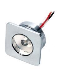 Lumière de courtoisie laiton chromé à LED 30x30 12V - blanc