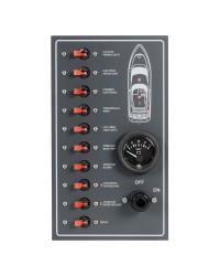 Tableau électrique 10 interrupteurs disjoncteurs auto Airpax 15A - 270x160mm