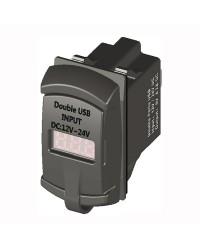 Prise de courant avec double USB + voltmètre