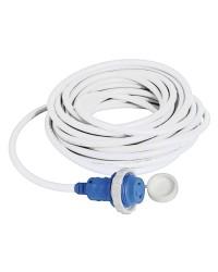 Câble avec prise de quai surmoulée 30 A blanc - 15 mètres