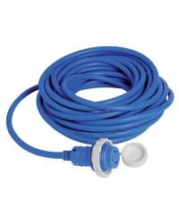 Câble avec prise de quai surmoulée 16 A bleu - 15 mètres