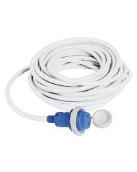 Câble avec prise de quai surmoulée 16 A blanc - 15 mètres