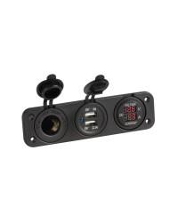 Voltmètre/ampèremètre numérique + prise allume-cigare et USB à encastrer