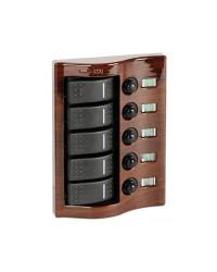 Tableau électrique Carling acajou 5 interrupteurs
