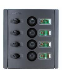Tableau électrique avec fusibles automatiques et double LED - 4 inters