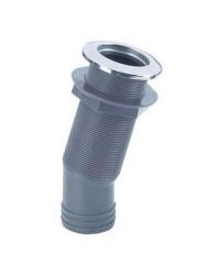Passe-coque 15° nylon/inox 2''1/4 pour tuyau ø38 mm avec bouchon anti-reflux