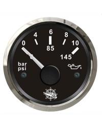 Indicateur de pression de l'huile 0-10 bar GUARDIAN 240-33 Ohms cadran noir, lunette argentée