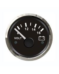 Voltmètre GUARDIAN 8-16V cadran noir, lunette argentée