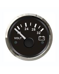 Voltmètre GUARDIAN 18-32V cadran noir, lunette argentée