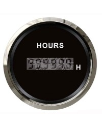 Compte-heures numérique GUARDIAN cadran noir, lunette argentée