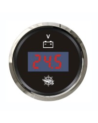 Voltmètre numérique GUARDIAN cadran noir, lunette argentée