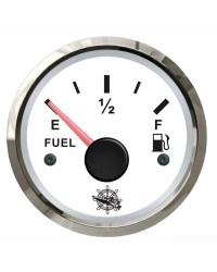Jauge de carburant 10-180 Ohm cadran blanc - lunette argentée