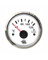 Indicateur de température d'eau 40-120° cadran blanc, lunette argentée