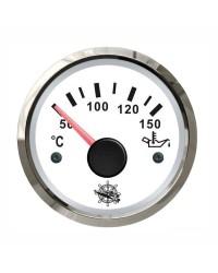 Indicateur de température de l'huile GUARDIAN 240-33 ohms cadran blanc, lunette argentée