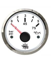Indicateur de pression de l'huile 0-5 bar GUARDIAN 240-33 ohms cadran blanc, lunette argentée
