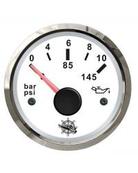 Indicateur de pression de l'huile 0-10 bar GUARDIAN 240-33 ohms cadran blanc, lunette argentée