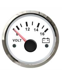 Voltmètre GUARDIAN 8-16V cadran blanc, lunette argentée