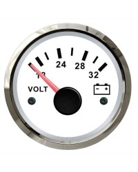 Voltmètre GUARDIAN 18-32V cadran blanc, lunette argentée