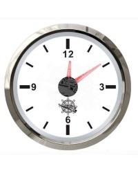 Horloge à quartz GUARDIAN cadran blanc, lunette argentée 12/24V
