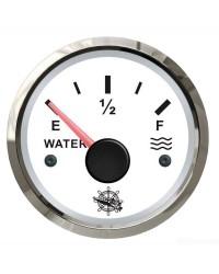 Jauge d'eau 10-180 Ohms cadran blanc - lunette argentée