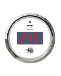 Voltmètre numérique GUARDIAN cadran blanc, lunette argentée