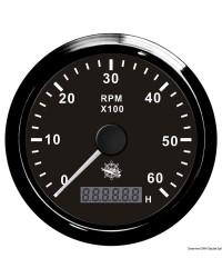 Compte-tours électronique + compte-heures 6000 RPM GUARDIAN cadran noir, lunette noire