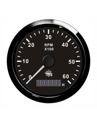 Compte-tours électronique + compte-heures 8000 RPM GUARDIAN cadran noir, lunette noire