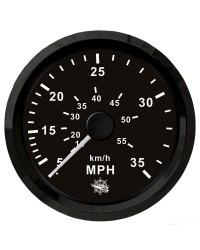 Speedomètre pour tube de Pitot 0-35 Mph GUARDIAN cadran noir, lunette noire