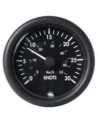 Speedomètre GUARDIAN 0 à 30 noeuds 12V - noir