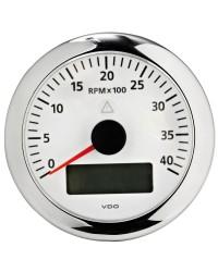 Compte-tours avec horamètre + voltmètre + compte heures VDO ViewLine 4000 RPM 12/24 blanc