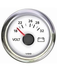 Voltmètre VDO ViewLine 18/32 V blanc