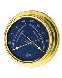 Hygro/thermomètre BARIGO Regatta laiton chromé - cadran bleu