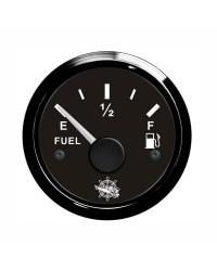 Jauge de carburant - cadran noir -  lunette noire - 12/24 v