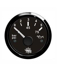 Indicateur de pression de l'huile 0-5 bar GUARDIAN 240-33 ohms cadran noir, lunette noire