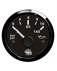 Indicateur de pression de l'huile 0-10 bar GUARDIAN 240-33 ohms cadran noir, lunette noire
