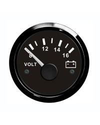 Voltmètre GUARDIAN 8-16V cadran noir, lunette noire