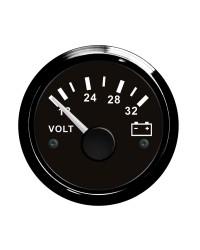 Voltmètre GUARDIAN 18-32V cadran noir, lunette noire