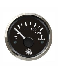 Indicateur de température d'eau 40-120° cadran noir, lunette argentée