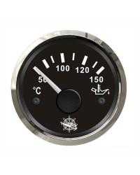 Indicateur de température de l'huile GUARDIAN 240-33 ohms cadran noir, lunette argentée